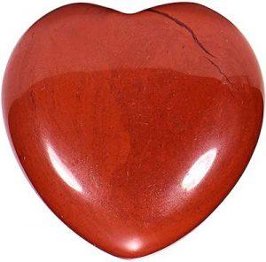 Morella Portafortuna a forma di cuore gemma pietre preziose Diaspro rosso